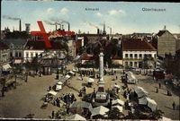 Oberhausen am Rhein, Verkaufsstände auf dem Altmarkt, Säule