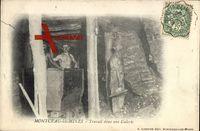 Montceau les Mines Saône et Loire, arbeiten im Stollen - Travail dans uns Galerie um 1903