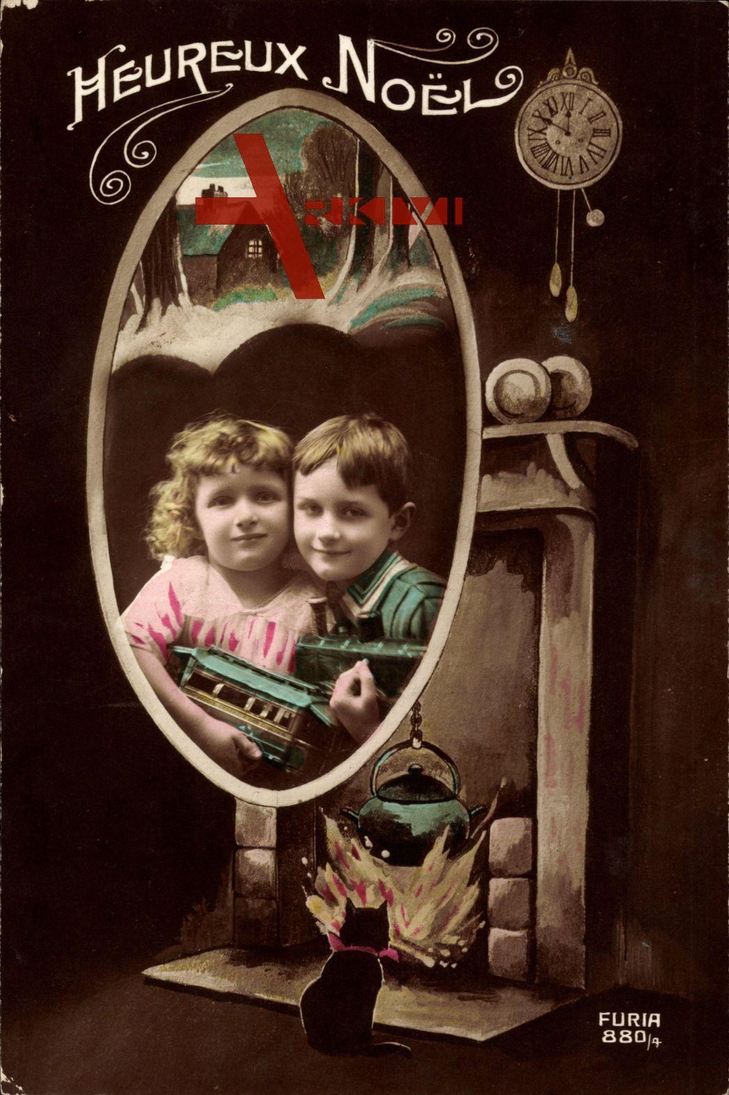 Heureux Noel, Weihnachten, Kinder mit Spielzeug, Uhr, Katze, Furia 880/4