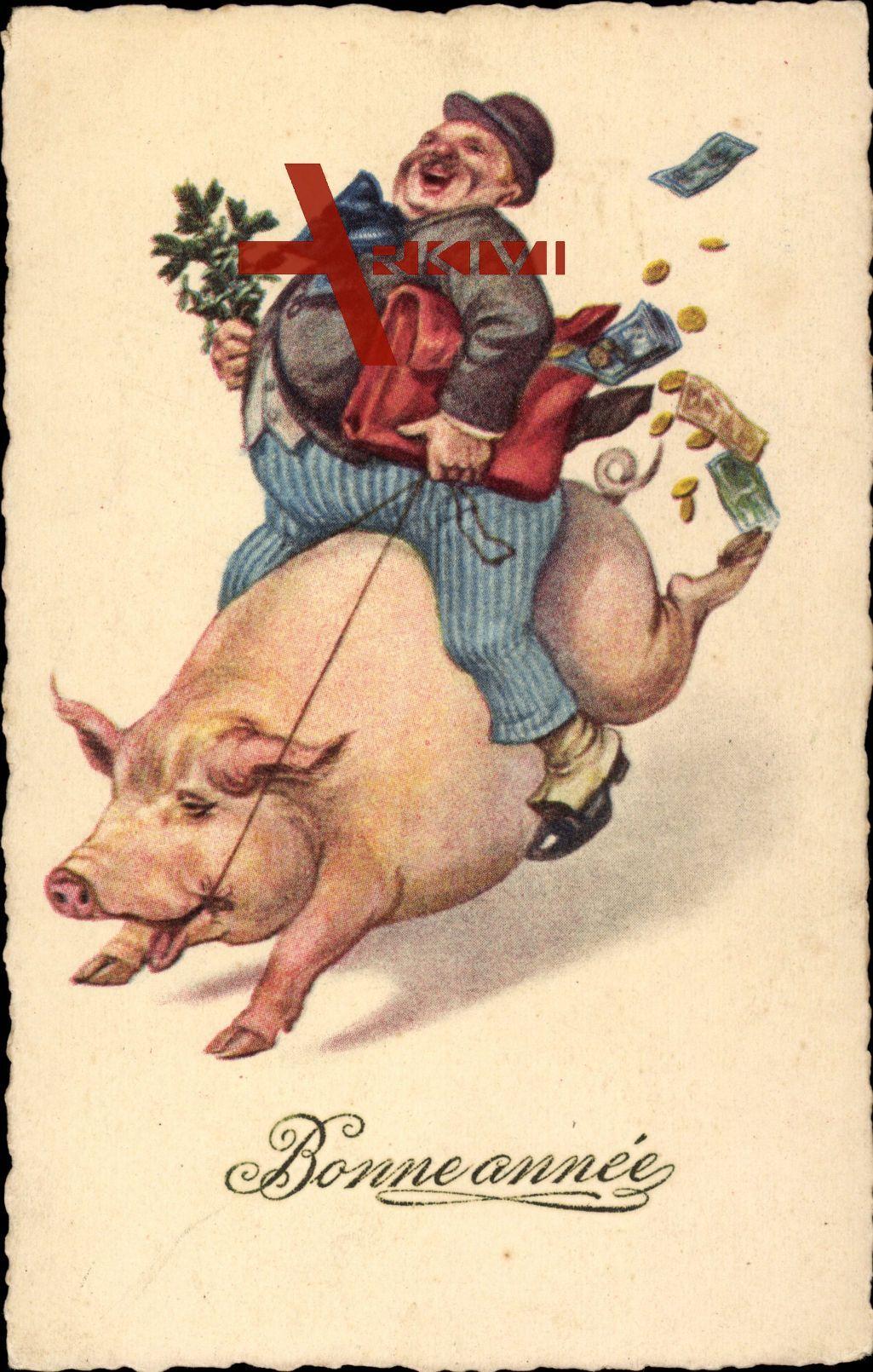 Bonne Année Glückwunsch Neujahr Schwein Mann Münzen Geld