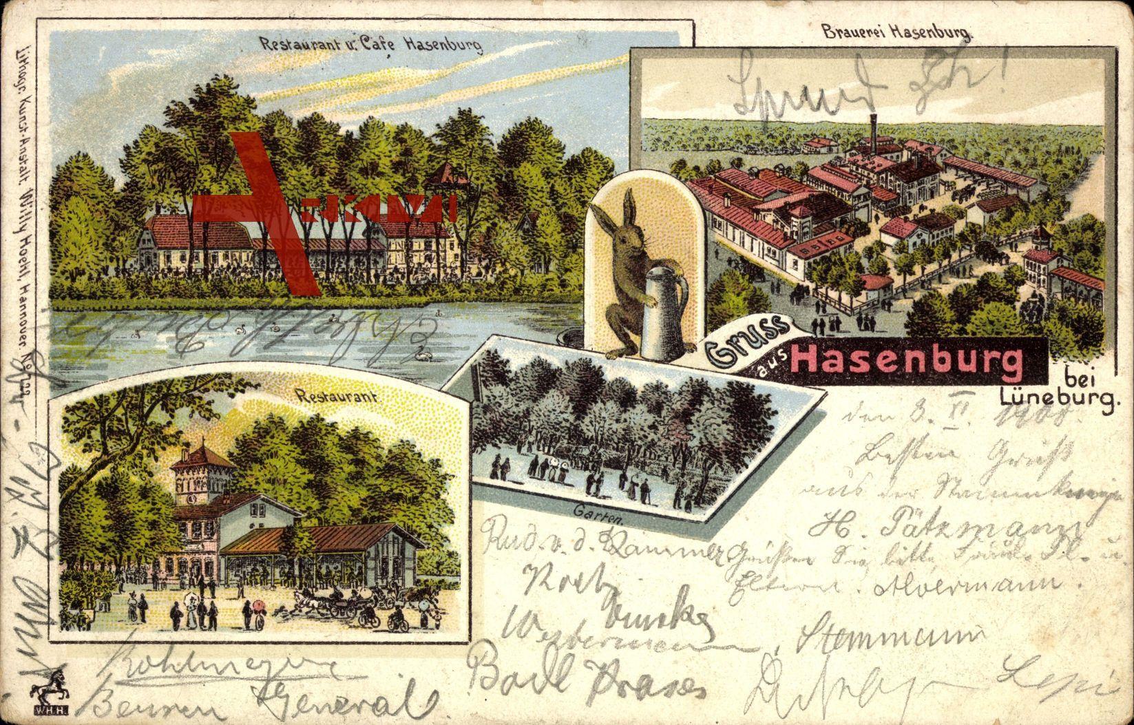 Hasenburg Lüneburg, Hase mit Bierkrug, Restaurant ...