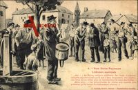 Nos bons Paysans, Littérature municipale, Brunnen, Bauern, Trommel