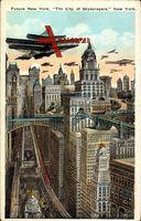 Zukunft New York City USA, Future, The City of Skyscrapers, Planes