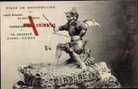 Montpellier Hérault, Carnaval 1908, Sa Majesté Diabl a l'Eau
