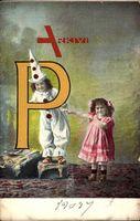 Buchstaben P, Clown, Kinder, Mädchen, Karnevalskostüm