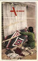 A Navajo Blanket Weaver, Teppichweberin, Indianerin, USA