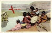 Children of Indian Pueblo of Laguna, Indianer, Mutter, Kinder