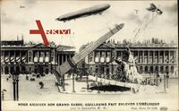 Paris, Zeppelin hebt Obelisken an, Flugzeug, Fontäne