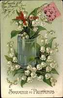 Souvenir du Printemps, Frühling, Weiße Glockenblumen, Wasserglas