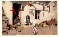 A Hopi Thanksgiving, Hopi-Indianer mit Kürbissen, USA