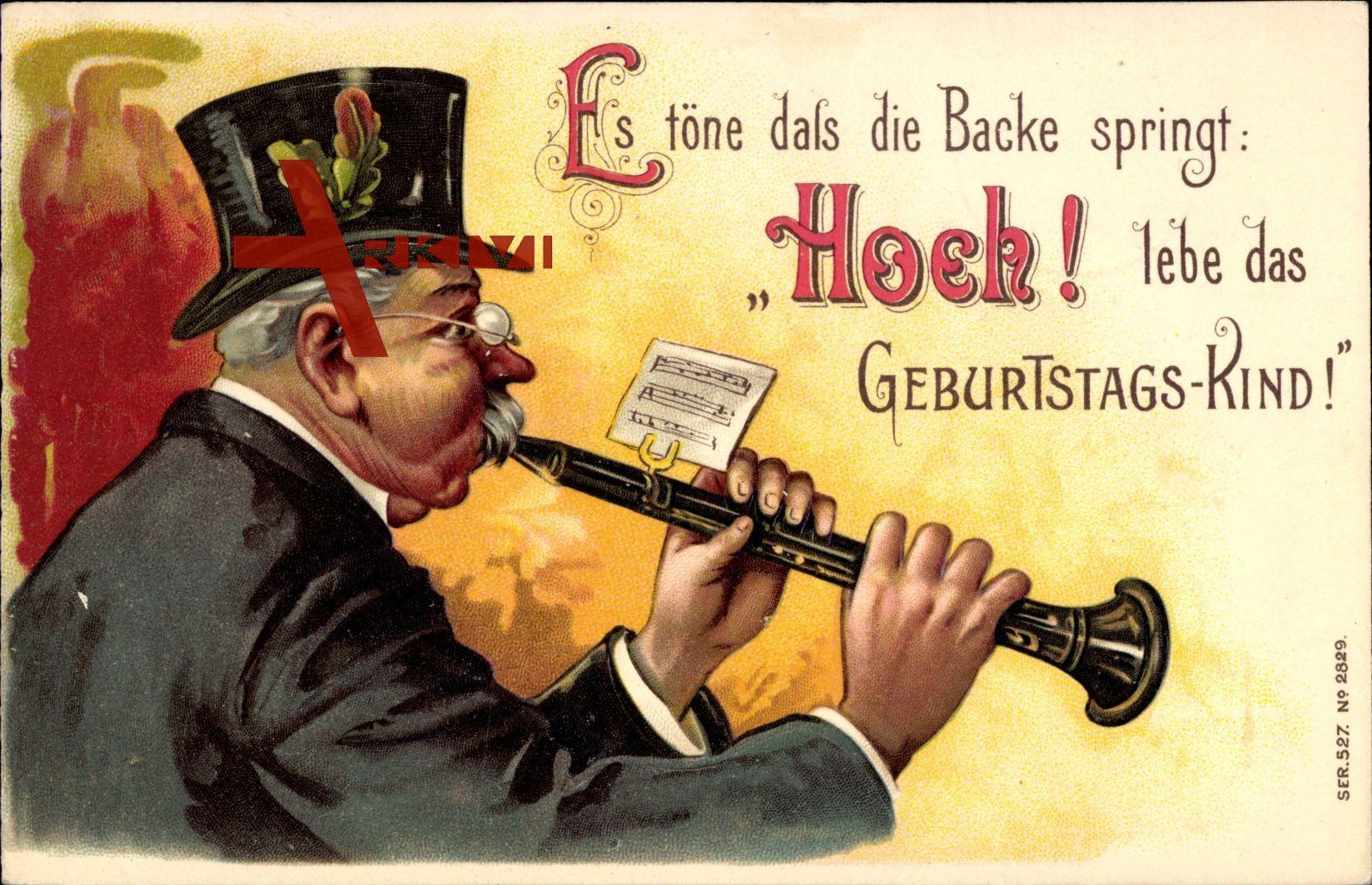 Gluckwunsch Geburtstag Mann Mit Klarinette Zylinder Xl
