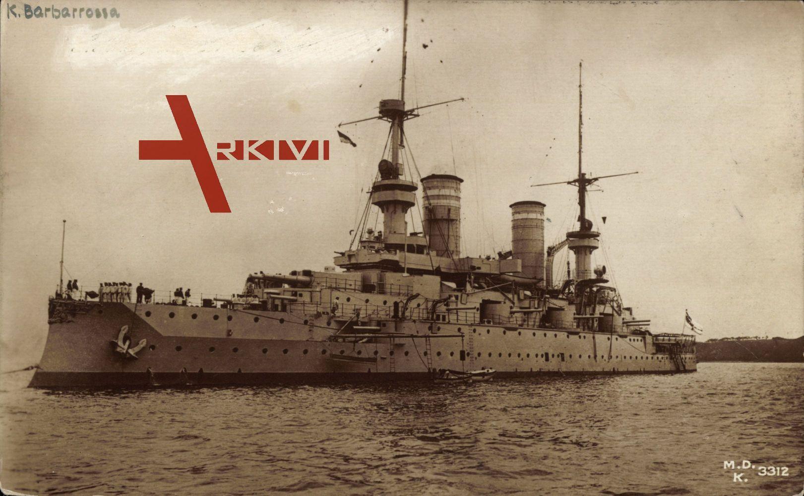S.M.S. Barbarossa, Deutsches Kriegsschiff, Besatzung an Bord