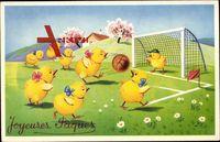 Glückwunsch Ostern, Joyeuses Paques, Küken spielen Fußball
