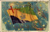 New Orleans Louisiana, Ansicht der Carnival Flag, Mardi Gras