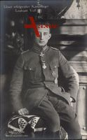 Kampfflieger Leutnant Werner Voß, Portrait, Uniform, Sanke 506