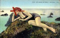 Aux Bains de Mer, Rêverie, Frau in Badekleid, Frankreich
