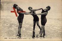 Le Tréport, Plaisir du Bain, Drei junge Frauen in Badekleidung, Frankreich