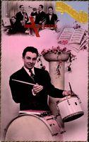 Bonne Fête, Glückwunsch, Musiker, Schlagzeug, Trompete, kordeon, Piano