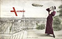 Va donc, eh, Ballot, Zeppelin über Paris, Eiffelturm, Frau