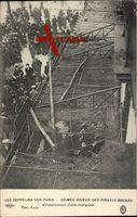 Paris, Les Zeppelins, Crimes odieux des Pirates Boches, Marquise,Effondrement