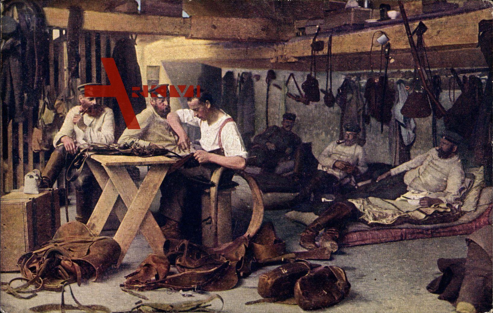 Feldsattlerei, Krieg 1914, Sattelmacher bei der Arbeit