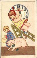 Glückwunsch Neujahr, Uhr, Kinder, Schwein, Kleeblätter, Hufeisen, Geldsack