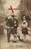 Enfin Reunis, Soldat begrüßt in Tracht gekleidete Mädchen