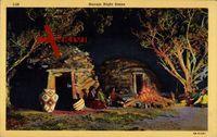 Navajo Night Scene, Indianer sitzten zusammen am Lagerfeuer