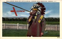 Cherokee Indian with Native Blow Gun, Indianer mit Giftpfeil