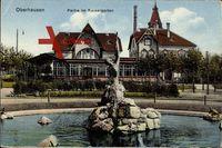 Oberhausen am Rhein, Partie im Kaisergarten, Blick vom Brunnen