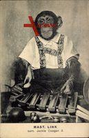 Mast. Link, Surn. Jackie Coogan II., Schimpanse, Xylophon