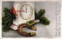 Glückwunsch Neujahr, Bonne Année, Hufeisen, Standuhr, Kleeblatt