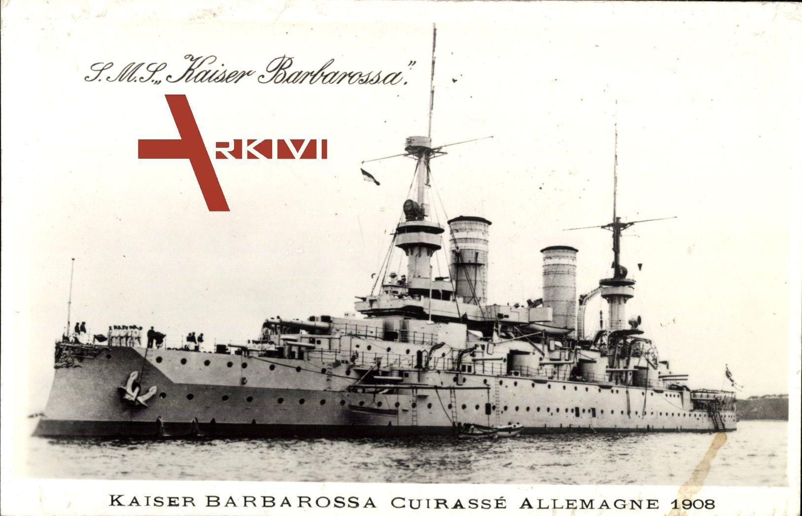 Kriegsschiff S.M.S. Kaiser Barbarossa, Cuirassée Allemagne 1908