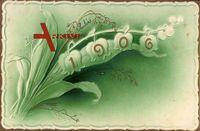 Blume, Maiglöckchen mit Jahreszahl 1906, Goldrand