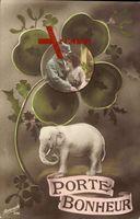 Kitsch, Bild eines Liebespaares in einem Kleeblatt, Elefant