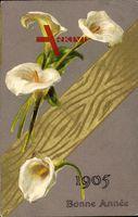 Glückwunsch Neujahr 1905, Weiße Blüten