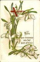 Kitsch, Vergoldeter Schriftzug mit Schneeglöckchen