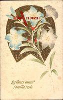 Les fleurs passent l'amitie reste, weiße und blaue Blüten