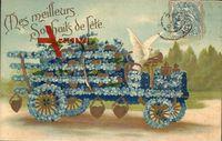 Kitsch, Auto aus Vergißmeinicht Blüten mit Taube