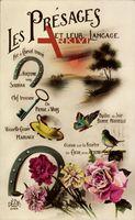 Kitsch, Hufeisen, Schlüssel, Schmetterling, Vogel, Blumen, Landschaft