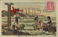 Buchstaben Vorname Louis, Drei Damen am Strand in den Wellen