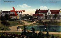 Berlin Weißensee, Blick auf den Goldfischteich an der Park Straße