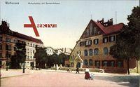 Berlin Pankow Weißensee, Partie am Mirbachplatz mit Gemeindehaus