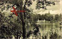 Berlin Pankow Weißensee, Blick auf den See, Bäume