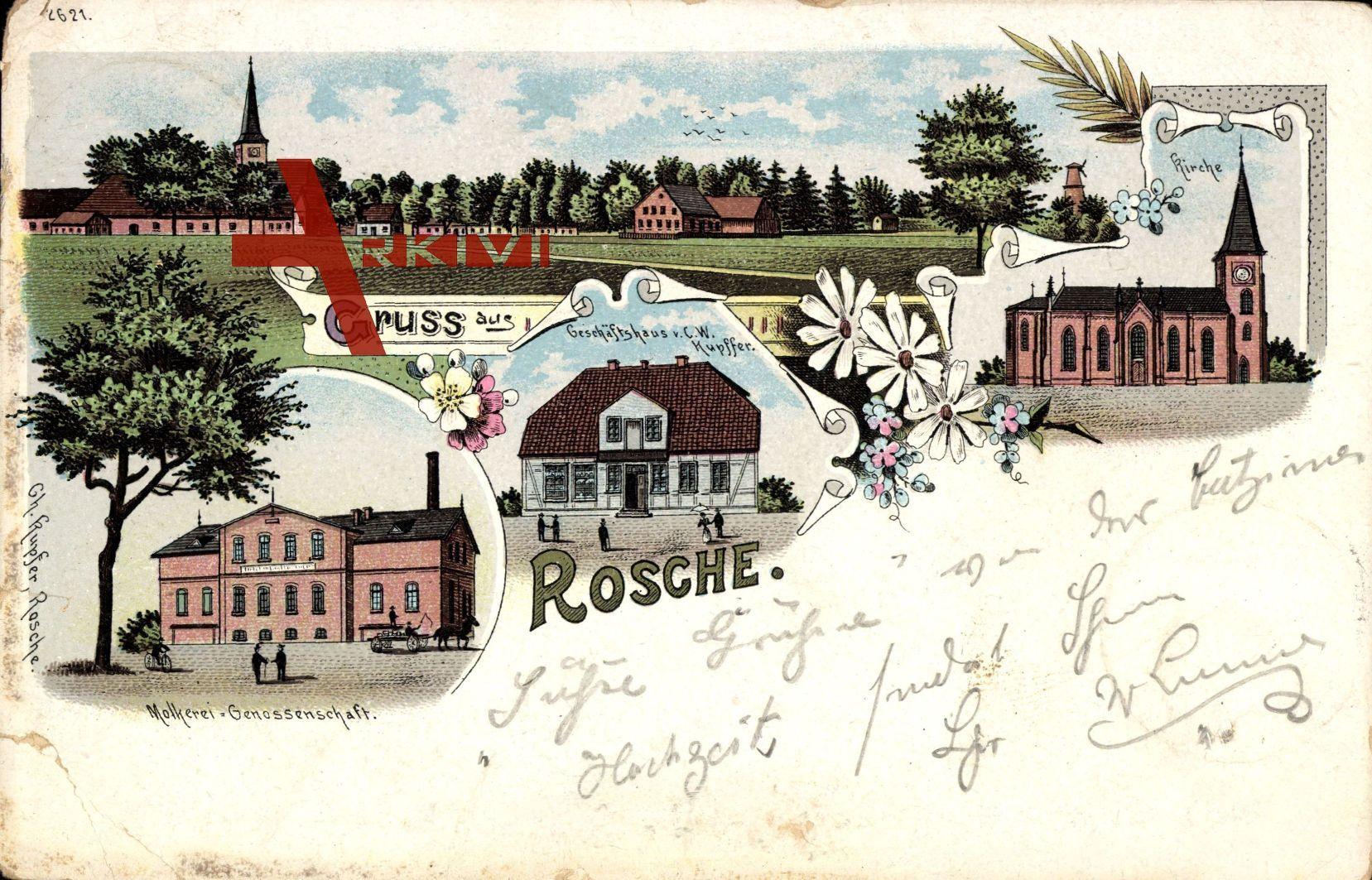 Rosche Kreis Uelzen, Molkerei Genossenschaft, Geschäft C.W. Kupffer