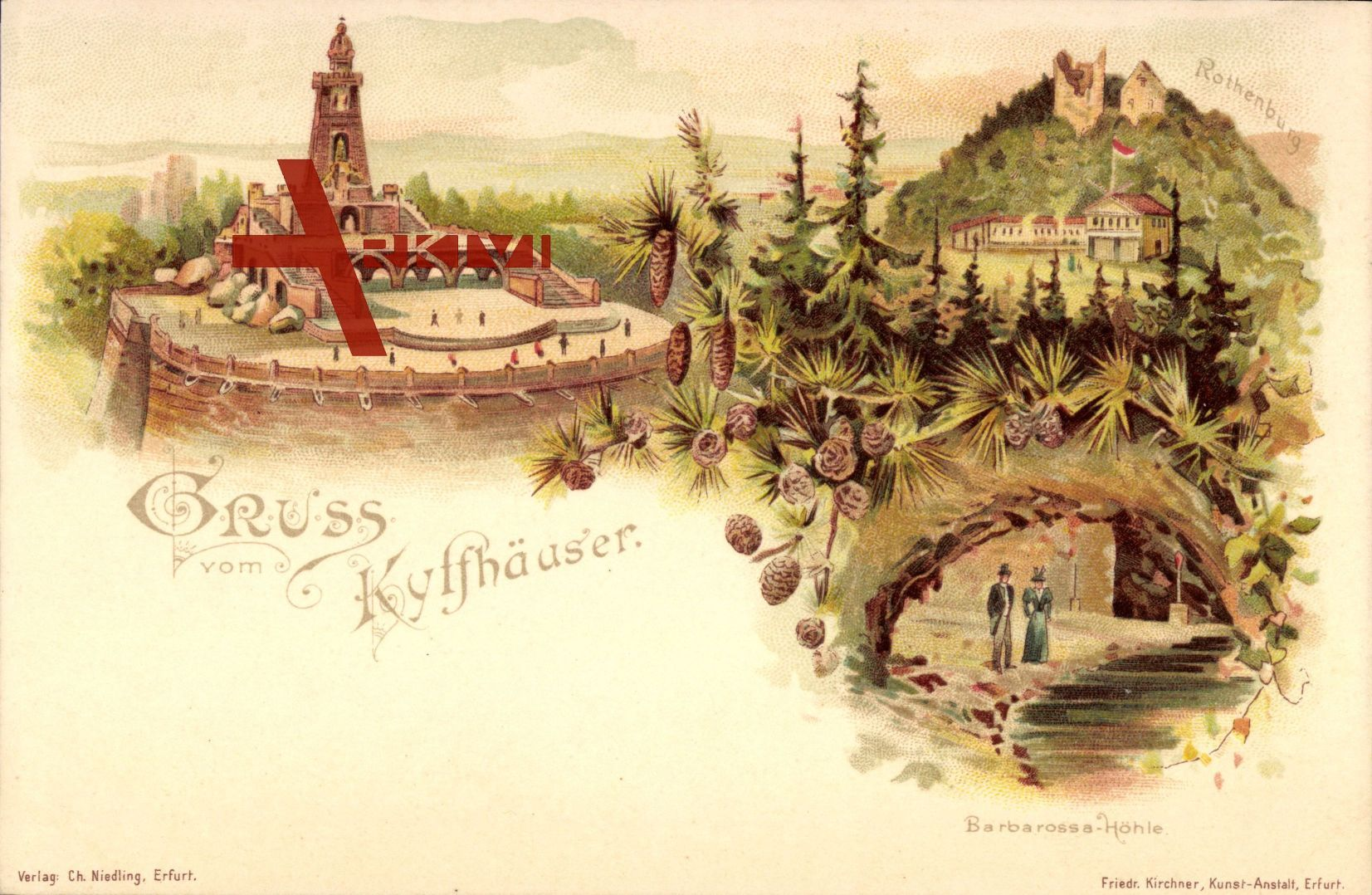 Bad Frankenhausen Kyffhäuserkreis, Barbarossa Höhle, Denkmal, Rothenburg