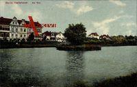 Berlin Lichtenberg Karlshorst, Blick vom See auf das Wohnviertel