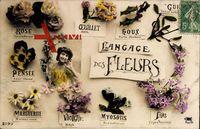 Langage des Fleurs, Blumensprache, Rose, Pensée, Marguerite, Violette