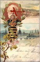 Wappen König Albert von Sachsen, Providentia Memor, Pillnitz, 1898