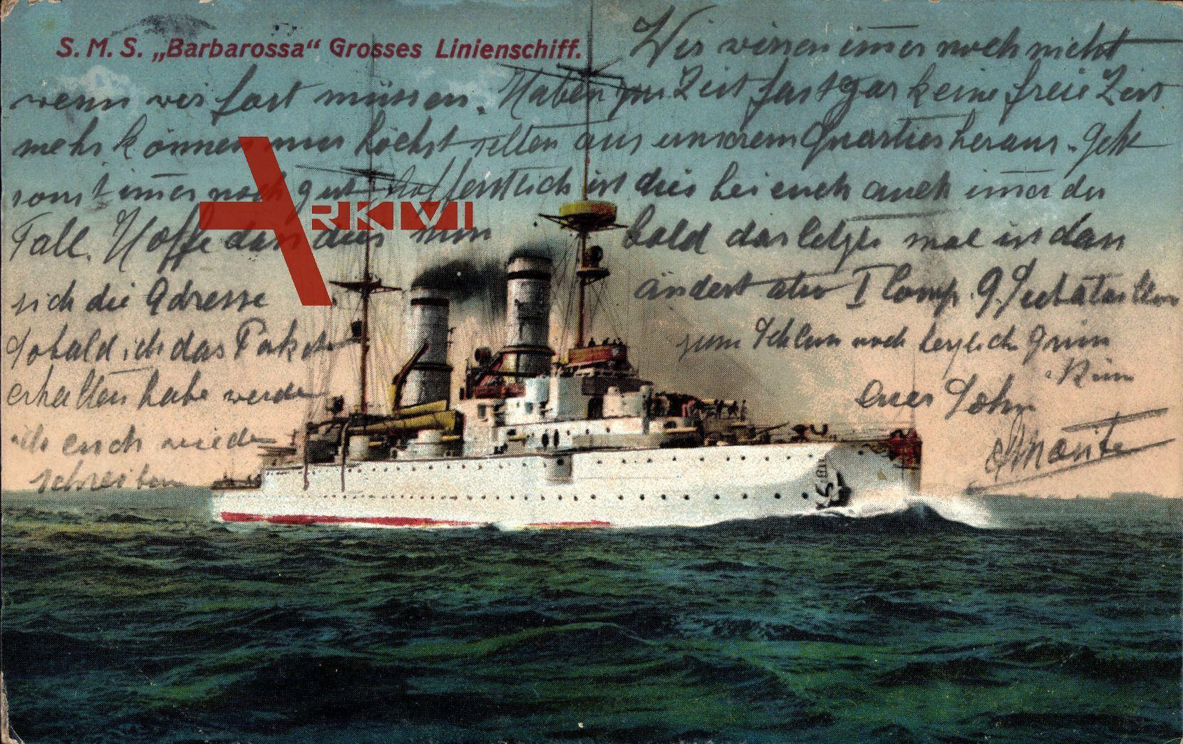 S.M.S. Barbarossa, Großes Linienschiff, Deutsches Kriegsschiff